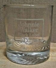 Vintage Johnnie Walker Black Label 12 Years Old Scotch Whisky Swirl Bottom Glass