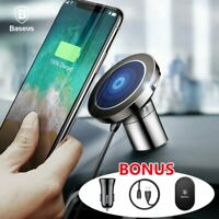 Baseus Qi Wireless Car Charger Magnetic Phone Holder Stand Air Vent Dashboard