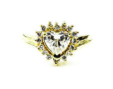 Zirconia Engagement Ring ~ 4.4g 14K Yellow Gold Heart Cubic