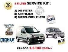 PARA RENAULT KANGOO 1.5 DCi 4/2003-> FILTRO DE ACEITE AIRE COMBUSTIBLE