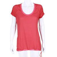 LULULEMON Scoop Neck Ruched Short Sleeve Red Shirt Drawstring Hem size 8 -IN/517