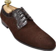 Mens Antonio Cerrelli Brown Suede Oxford Crocodile Print Dress Shoes