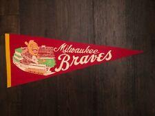 1950's Vintage Milwaukee Braves Felt Full Size Pennant - Original!