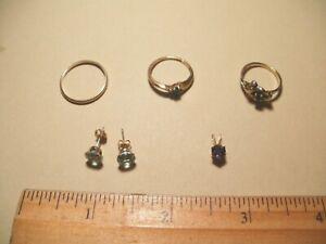 10K Gold Jewelry - 3 rings, 1 set of Aquamarine earrings, and 1 pendant