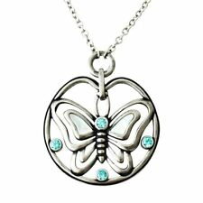 Butterfly Pendant Necklace with Blue Cubic Zirconia white Mother Pearl Controse
