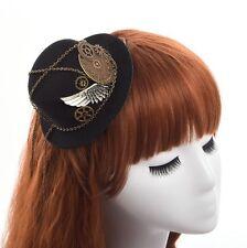 Retro Women Hairclip Steampunk Mini Top Hat Goth Geer Wing Chain Girl Head Wear