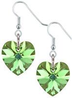 August Birthstone Earrings Heart Peridot 925 Silver with Crystal from Swarovski®