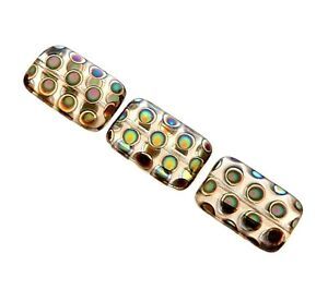 10 Designer Peacock Czech Glass Black Vitrex Dot Print 18mm Rectangle Beads