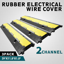 3PCS 2Channel Rubber Cable Protector Ramp Electrical Wire Cable Cover Ramp Guard