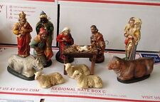 "Vintage West Germany Christmas 12 Pc. Nativity Paper Mache 6 1/4"" 1950's"