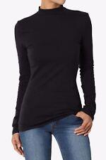 TheMogan Basic Solid Plain Mock Neck Long Sleeve Cotton Jersey Tee T-Shirt Top