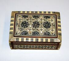 Vintage Khatam Jewellery Trinket Box Wood Micro Mosaic Inlay Handmade 5in Long