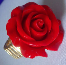 HUGE RED ROSE  STRETCH RING