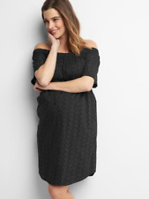 GAP Maternity Zigzag Off Shoulder Eyelet Lined Dress Size MEDIUM Black NWT