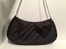 Jessica Simpson Handbag Evening Purse Black Zip w/3 Roses, Silver Chain Handle