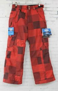 New 686 Boys Youth Smarty Cargo Insulated Snowboard Pants Large Red Blocks Print