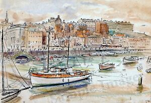 A4 A3 or A2 Whitby Harbour Art Print of original 1936 dated unsigned watercolour