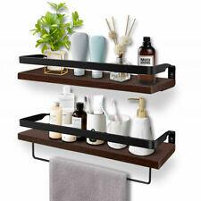 Large Brown Floating Shelves Wood Wall Shelf Kitchen Spice Rack Bathroom Storage