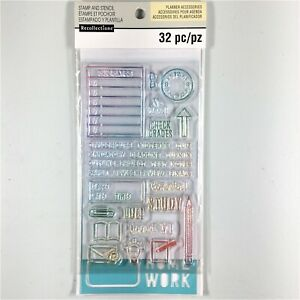 Recollections Planner Accessories Clear Stamp & Stencil Set School