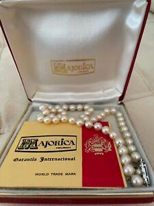 "Vintage Majorica Spain Man-Made Pearl 16"" Strand Necklace in Original Box Case"