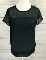 Mossimo Top Womens Small S Black Solid Short Sleeve Sheer Pocket Blouse Tee