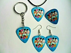 Mickey & Minnie Mouse Médiator de Guitare Porte Clé / Badge /Boucles/Collier