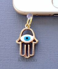 Gold Hamsa Hand cell phone Charm Anti Dust proof Plug ear jack For iPhone C216