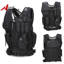 Tactical Molle Combat Vest with Pistol Holster Airsoft Hunting Paintabll Black