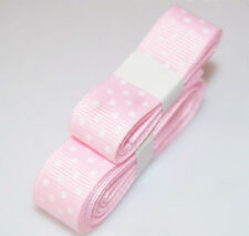 "Pink color 3yds 5/8"" (15 mm)Printed Party Polka Dot Grosgrain Ribbon"