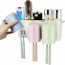 Toothbrush Holder Wall Mounted 3 Cups Natural Wheat Straw Anti-dust