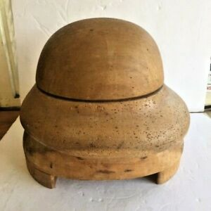 Antique  Wooden Hat Block/Form 2 piece 22 Solid wood