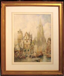 Large, Original Antique Henri Schafer Watercolor - The Town of Freiburg, Baden
