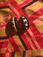 ST JOHN COLLECTION DESIGNER JEWELRY CLIP-ON BLACK/GOLD TONE Hoops Vintage Enamel