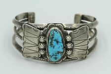 Exquisite Native American Indian Chunky Turquoise Pawn Sterling Silver Bracelet