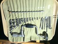 Vintage Stanley 2101A Bell System B Bit Brace with 23 Good Drilling Bits Clean