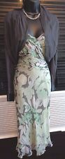 Phase Eight mint green & grey silk chiffon dress & silk shrug outfit wedding 12