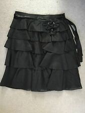 ZARA - PURE SILK BLACK LAYERED SKIRT WITH FLOWER ON LEFT WAISTBAND -SIZE M