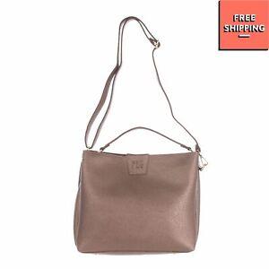FEZ BY FEZ Shoulder Bag Metallic Grainy PVC Leather Removable Pouch Magnetic