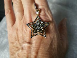 Black Spinel Star pendant, 3 carats, 4.09 grams of gold plated Sterling Silver
