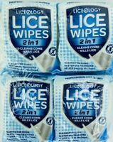 Liceology Lice Wipes 2 in 1 Kills Lice on Contact Comb Head Skin 60 WIPES