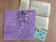 """Program booklet """"Liebelei"""" with Karl-Heinz Böhm/1968 Euro Studio/Ticket + criticism"""