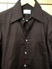 Vintage 60s Manhattan Mid Century Mod Men's Dark Brown Dress Shirt S 15 32/33