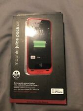 Mophie Juice Pack Air iphone 4/4s 1500 mah red #TR1430069882-rd new in package a