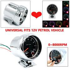 """3.75"""" LED Car Tachometer 0-8000 RPM Works On 4, 6 & 8 Cylinder Engine Shockproof"""