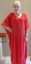 Long Kaftan Dress Classic Boho Chiffon Crepe sequined neck Plus Size 24-34 New