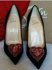 NEW CHRISTIAN LOUBOUTIN Perucora 120 embellished velvet point-toe pumps, Size 38