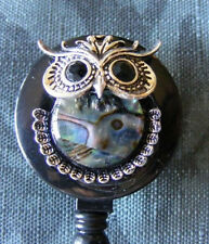 Owl Bird Mother of Pearl Abalone ID Badge Name Tag Key Card Holder Reel Lanyard
