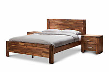 phillipe solid acacia oak timber reclaimed wood style queen size bed frame only