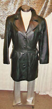 Vintage soft black leather 3/4 coat.size small, tie-up waist,button front