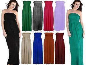 Womens Ladies Plain Bandeau Sheering Maxi Long Boobtube Bandeau dress Size UK 8